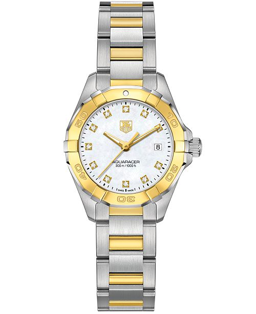 TAG Heuer Women's Swiss Aquaracer Diamond Accent 18k Gold-Capped Stainless Steel Bracelet Watch 27mm WAY1451.BD0922