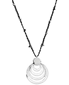 Robert Lee Morris Soho Silver-Tone Black Cord and Hammered Ring Pendant Necklace
