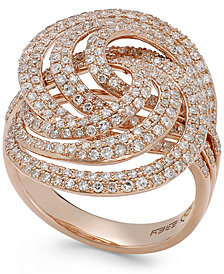 Pave Rose by EFFY Diamond Spiral Ring in 14k Rose Gold (1-1/4 ct. t.w.)