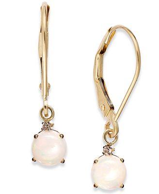 Opal Leverback Earrings In 14k Gold 3 4 Ct T W