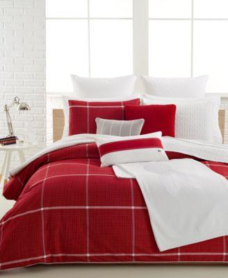 closeout! lacoste cambon bedding collection, 100% cotton - bedding