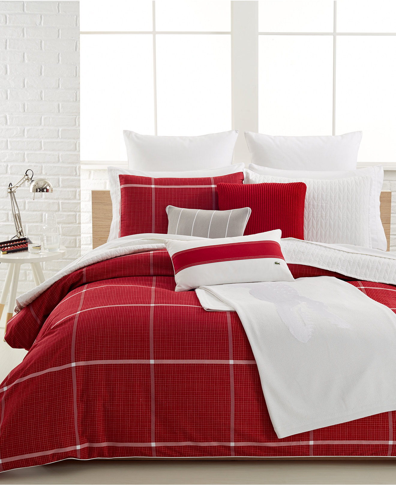 White and red bed sheets - Lacoste Cambon Bedding Collection 100 Cotton Bedding Collections Bed Bath Macy S