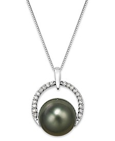 Tahitian Pearl (12 mm) and Diamond (1/5 ct. t.w.) Arch Pendant Necklace in 14k White Gold