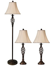 Barclay Brass Set of 3: 2 Table Lamps and 1 Floor Lamp