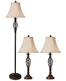 StyleCraft Barclay Brass Set of 3: 2 Table Lamps and 1 Floor Lamp