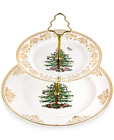 Christmas Tree Gold 2 Tier Cake Stand