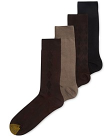 Men's Socks, Microfiber Assorted Textures Dress Crew 4-Pack, Created for Macy's
