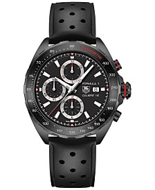 TAG Heuer Men's Swiss Automatic Chronograph Formula 1 Calibre 16 Black Perforated Rubber Strap Watch 44mm CAZ2011.FT8024
