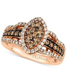 Le Vian White and Chocolate Diamond Ring in 14k Rose Gold (1-1/4 ct. t.w.)