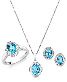 Blue and White Topaz Jewelry Set in Sterling Silver (4-1/3 ct. t.w.)