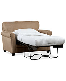 "Kaleigh 55"" Fabric Single Sleeper Chair Bed & Storage Ottoman Set"