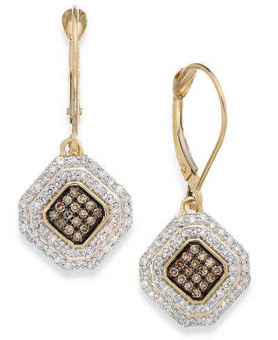 Wrapped in Love™ White and Champagne Diamond Leverback Earrings in 14k Gold (1/2 ct. t.w.), Created for Macy's