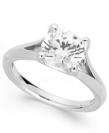 Certified Diamond Split Shank Engagement Ring in 18 White Gold (2 ct. t.w.), Created for Macy's