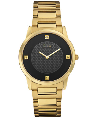 guess men s diamond accent gold tone stainless steel bracelet guess men s diamond accent gold tone stainless steel bracelet watch 40mm u0428g1