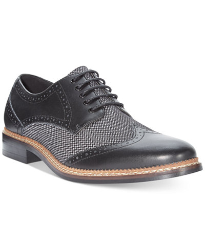 Bar III Monte Mixed Media Wing-Tip Oxfords, Created for Macy's