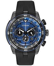 Men's Chronograph Eco-Drive Ecosphere Black Polyurethane Strap Watch 48mm CA4155-12L