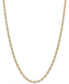 "16"" Rope Chain Necklace in 14k Gold (1-3/4mm)"