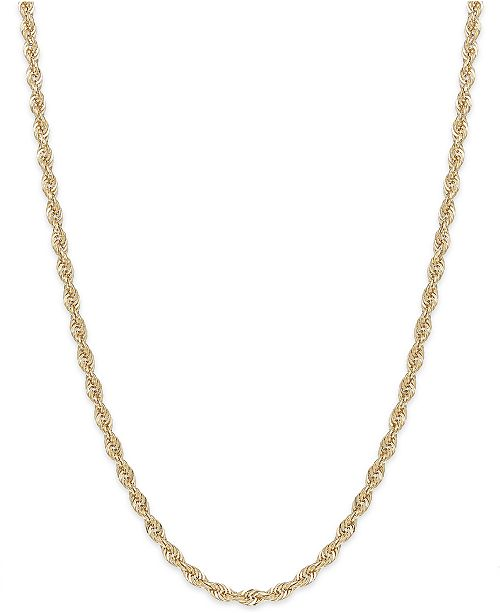 """Macy's 16"""" Rope Chain Necklace in 14k Gold (1-3/4mm)"""