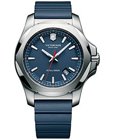 Victorinox Swiss Army Men's I.N.O.X. Blue Rubber Strap Watch 43mm 241688.1