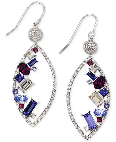 SIS by Simone I Smith Purple, White and Blue Crystal Marquise Drop Earrings in Platinum over Sterling Silver