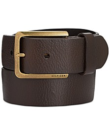 Men's Heavy Brass Buckle Leather Belt