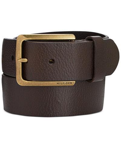 Tommy Hilfiger Heavy Brass Buckle Leather Belt