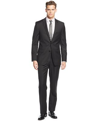 DKNY Black Solid Extra-Slim-Fit Suit - Suits & Suit Separates ...