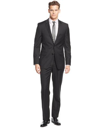 DKNY Black Solid Extra-Slim-Fit Suit - Suits & Suit Separates ...