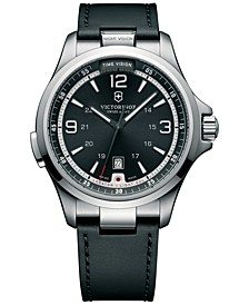 Men's Night Vision Black Leather Strap Watch 42mm 241664