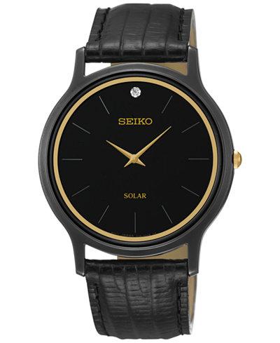 Seiko Men's Solar Diamond Accent Black Leather Strap Watch 38mm SUP875