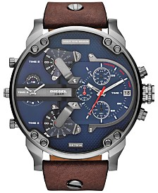 Diesel Men's Mr. Daddy 2.0 Brown Leather Strap Watch 66x57mm DZ7314