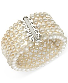 Belle de Mer Cultured Freshwater Pearl Five-Row Bracelet in Sterling Silver (6-7mm)