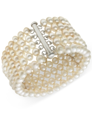 Cultured Freshwater Pearl Five-Row Bracelet in Sterling Silver (6-7mm)