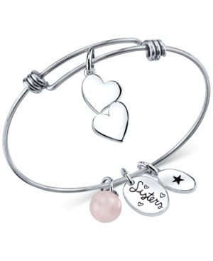 Unwritten Sisters Charm and Rose Quartz (8mm) Bangle Bracelet in Stainless Steel