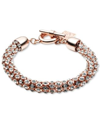 Image of Anne Klein Crystal Pavé Tubular Toggle Bracelet