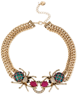Betsey Johnson Gold-Tone Spider Frontal Necklace