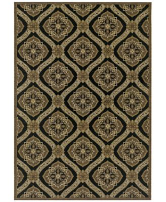 "Indoor/Outdoor Runner Rug, Dolce 4075/0195 Napoli Black-Gold 2'3"" x 7'10"""