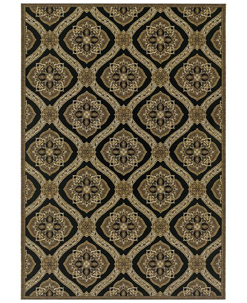 "Couristan Indoor/Outdoor Runner Rug, Dolce 4075/0195 Napoli Black-Gold 2'3"" x 7'10"""