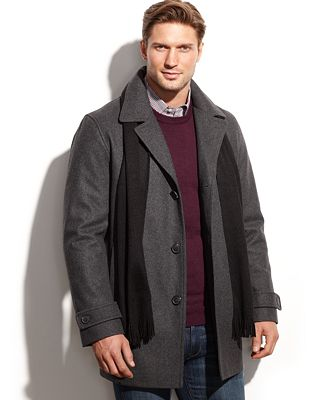 Calvin Klein Wool-Blend Car Coat with Scarf - Coats & Jackets ...