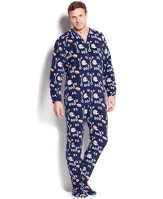 Club Room Men's Novelty Print Footie Pajamas - Pajamas, Lounge ...
