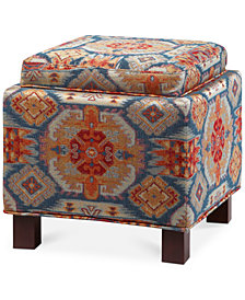 Lowland Fabric Accent Storage Ottoman with Pillows, Quick Ship