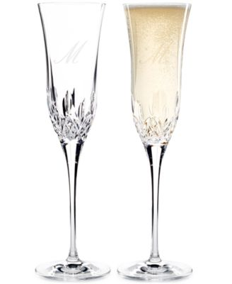 waterford lismore essence script letter monogram toasting flutes set of 2 - Waterford Champagne Flutes