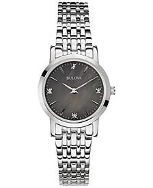 Women's Diamond Accent Stainless Steel Bracelet Watch 27mm 96P148