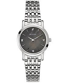 Bulova Women's Diamond Accent Stainless Steel Bracelet Watch 27mm 96P148