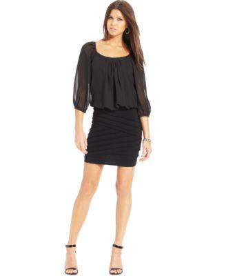 Long sleeve blouson dress