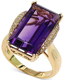 Lavender Rose by EFFY® Amethyst (9-5/8 ct. t.w.) and Diamond (1/6 ct. t.w.) Ring in 14k Gold