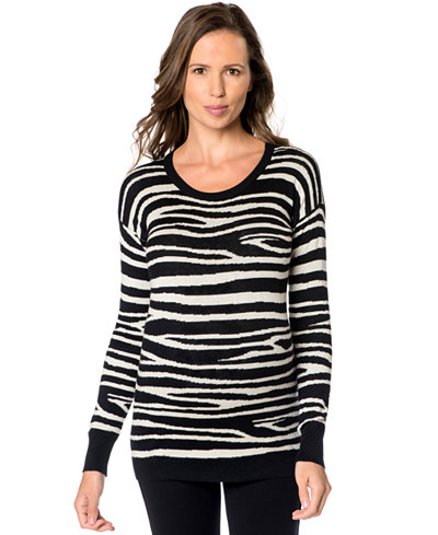 A Pea In The Pod Maternity Animal-Print Silk-Cashmere Sweater