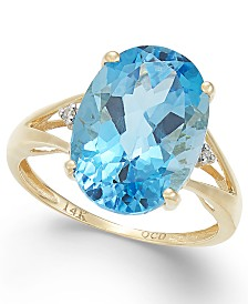 Mystic Topaz (7-1/6 ct. t.w.) and Diamond Accent Oval Ring in 14k Gold (Also Available in Amethyst, Blue Topaz, & Prasolite)