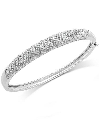 Diamond Multi-Row Bangle Bracelet in Sterling Silver (1 ct. t.w.)