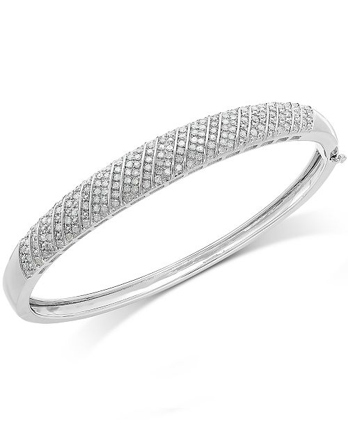 Macy's Diamond Multi-Row Bangle Bracelet in Sterling Silver (1 ct. t.w.)